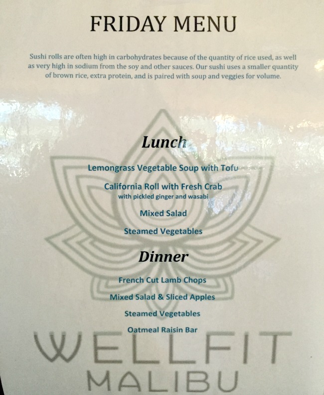 Weight loss resort menu