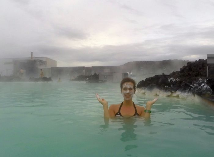Trying out the silica face mask inside the Blue Lagoon in Iceland
